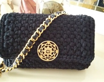 Black crochet clutch