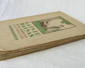 SALE OFF_1942, Latvian Antique Poetry Book with Humor Illustrations, Folk Songs, Latvju Dainas, Latvia