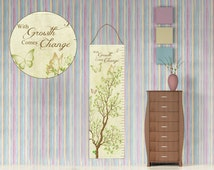 """Butterfly Canvas Growth Chart featuring the Word Art - """"With Growth Comes Change"""""""