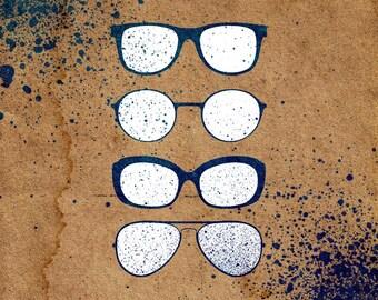 Sun Glasses Stencil