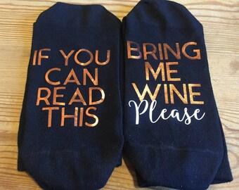 Hidden Message (On The Sole) Socks - 'Bring Me Wine/Beer/Drink' - Perfect Gift for Husband/Wife/Boyfriend/Girlfriend/Partner/Mum/Dad