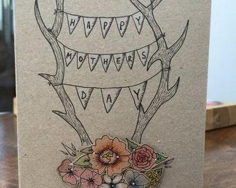 Mothers Day Card- Floral Deer