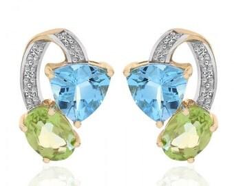 2.00 Carat Multi-Gemstone Diamond Stud Earrings 10K Yellow Gold