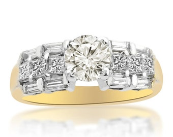 1.80 Carat I-VS2 Natural Round Cut Diamond Engagement Ring 18K Two Tone Gold