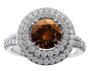 2.10ct Cognac Halo Split Shank Diamond Engagement Ring Platinum