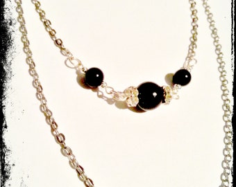 Silver Multi Strand Necklace, Black Pearl Necklace, Silver Chain Necklace, Gift for Her