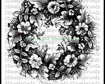 Digital Stamp - Summer Wreath VIS-1612 (Stamprints). Printable Vintage Images. Coloring Art. Crafts. Card Making. Mixed Media