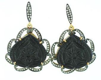 Gemstone Earrings Black Onyx Gemstone Hanging Earrings