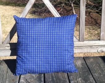 Blue and White Checkered Pillow, Blue Pillow, White Pillow