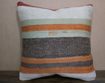 16x16 Kilim Pillow,Pale Colors Kilim Cushion Cover Throw Pillow Stripe Designs Turkey Kilim Pillow 40cm x 40 cm SP40-130