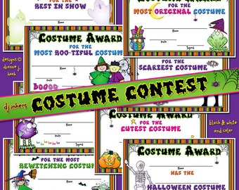Costume Contest Printable Certificates