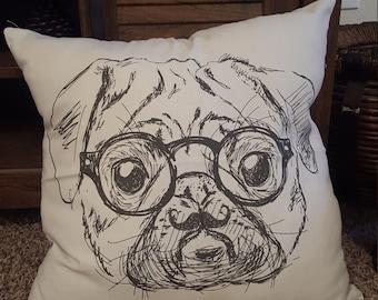 Retro Pug Throw Pillow