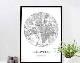 Columbus Map Print - City Map Art of Columbus Ohio Poster - Coordinates Wall Art Gift - Travel Map - Office Home Decor
