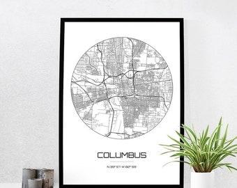 Columbus Map Print - City Map Art of Columbus Ohio Poster - Coordinates Wall Art Gift - Travel Map - Office Home Decor