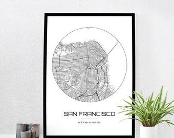 San Francisco Map Print - City Map Art of San Francisco California Poster - Coordinates Wall Art Gift - Travel Map - Office Home Decor