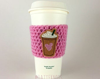 Mickey Mouse Frappuccino Coffee Cup Cozy / Crochet Coffee Sleeve / Reusable Cozie / Customizable