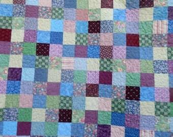 Queen Sized Quilt or King Sized Quilt, Patchwork Quilt, Purple, Blue, and Green, Old Fashioned Quilt, Traditional Quilt