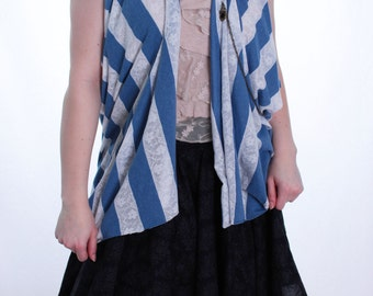 Blue and White Striped Vest, Womens, Steampunk Clothing, Womens Clothing, size small to large