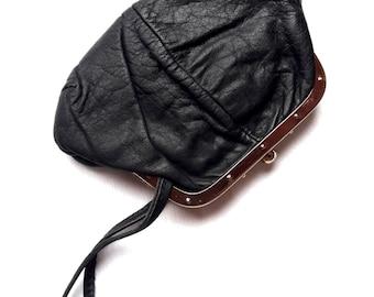 Vintage Black Leather Purse