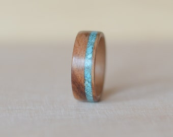 Satin walnut & turquoise bentwood ring