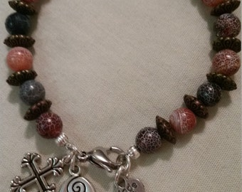 """Blue and Red Corals, mixed metals with cross and """"follow your heart"""" charms"""