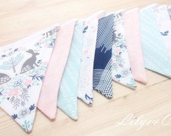 """Garland flag """"rabbit Scandinavian, green, pink, blue * Pennant garland"""" Rabbit Scandinavian, water green, pink, blue * HANDMADE *."""