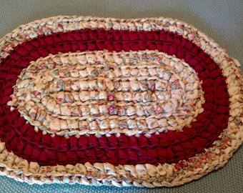 Hand crocheted, oval rag rug