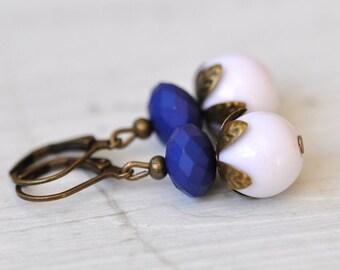 Vintage blue white earrings