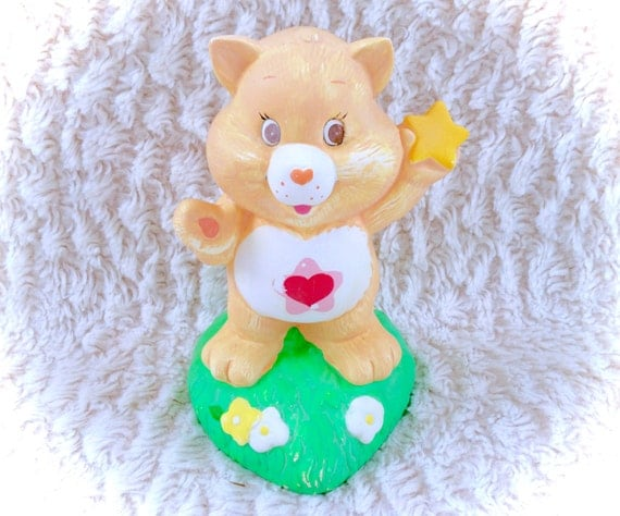 Items similar to vintage care bears proud heart cat tenderheart bear coin bank piggy bank purse - Piggy bank without stopper ...