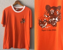 1980's/90's Tiger Cubs Vintage Boy Scouts of America Cotton Poly Blend Ringer T Shirt by Oneita