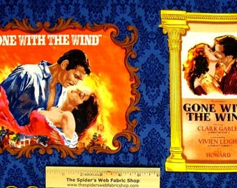 GONE with the WIND Movie Classic Fabric Panel - Rhett Butler & Scarlett O'Hara - Quilt Shop Quality Fabric - 1/3 yd.
