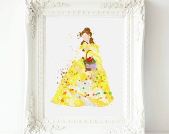 Beauty and the Beast Printable, Disney Princess Belle Prints, Watercolor Painting ,Princess Belle Printable Art ,Beauty and the Beast art
