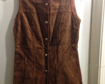 Vintage brown suede button up vest/tunic