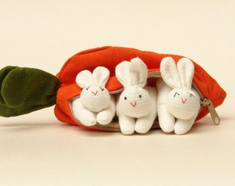 WoW Easter bunnies, Three white rabbits in a Carrot House All Handmade.Gift for Boy Girl or Adult