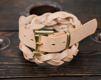 """1.25"""" Braided Natural Vegetable Tanned Leather Quick Release Belt with Solid Brass or Nickel Plated Hardware - Made to Order"""