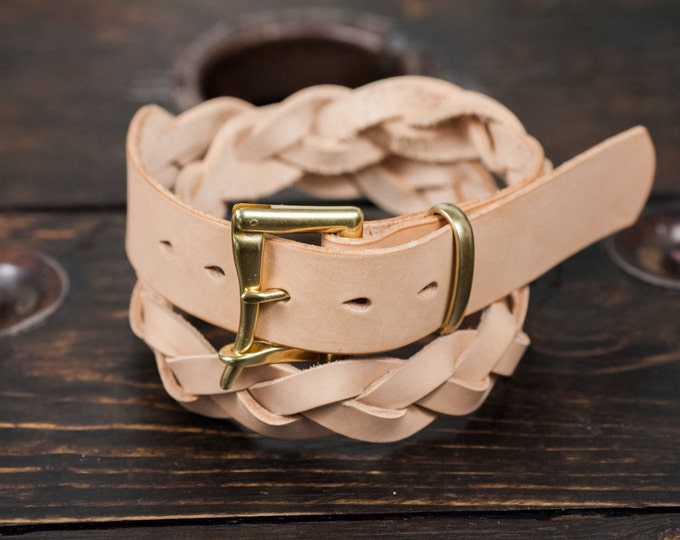 "1.25"" Braided Natural Vegetable Tanned Leather Quick Release Belt with Solid Brass or Nickel Plated Hardware - Made to Order"