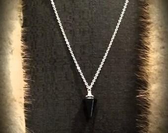 Starry Night Black Goldstone Pendulum Necklace