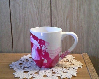 Nail polish white mug - Coffee mug - White drink ware - Pink nail polish mug
