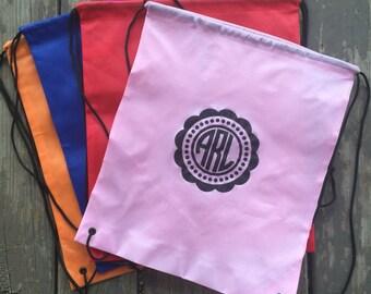 Monogrammed draw string bag