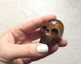 SALE: Tiger Eye Skull Carving