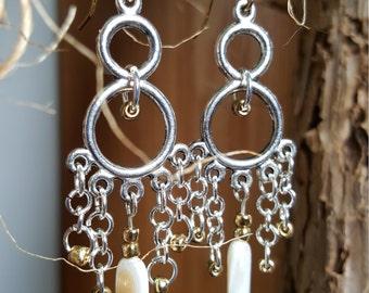 sea shell chandelier earrings,beachy earrings, ocean earrings, Beach earrings,tropical earrings