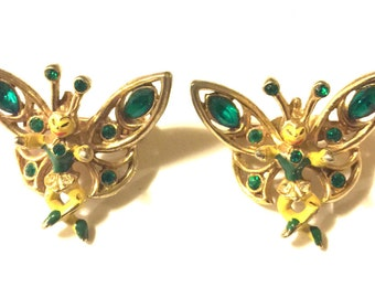 Pair of yellow green and gold rhinestone fairy pins