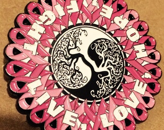 breast cancer ribbon tree of life pin
