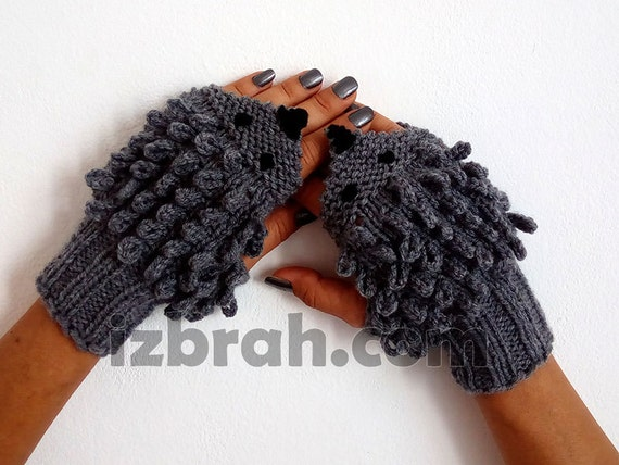 Knitting Pattern Hedgehog Mittens : Hedgehog knitted gloves Fingerless gloves Hedgehog mittens