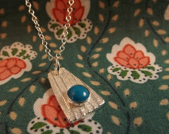 Spring sky fine silver and turquoise pendant