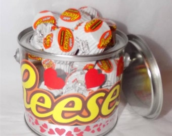 American Reese's peanut butter white miniatures heart gift pot