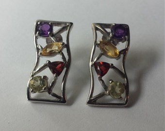 Sterling Silver .925 Earrings With Semiprecious Stones