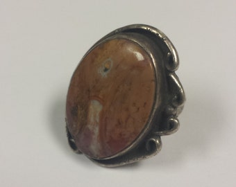 Sterling Silver .925 Ring With Large Jasper Stone