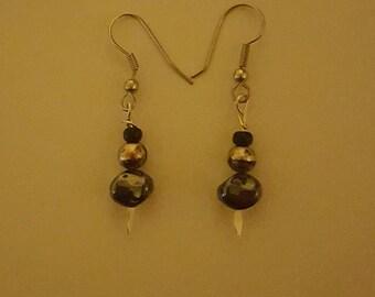 Black and Metallic Earrings