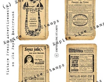 Vintage French Adverts on Old Aged Paper 6x4 inch ATC Scrapbooking Papercrafts Instant Download Digital Download